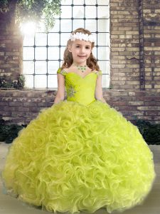 Yellow Green Fabric With Rolling Flowers Lace Up Little Girls Pageant Gowns Sleeveless Floor Length Beading and Ruffles