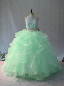 Fashionable Apple Green and Pink And White Organza Backless Halter Top Sleeveless Floor Length Quinceanera Dress Beading and Ruffles