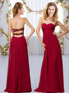 Wine Red Empire Chiffon Sweetheart Sleeveless Beading Floor Length Criss Cross Dama Dress for Quinceanera