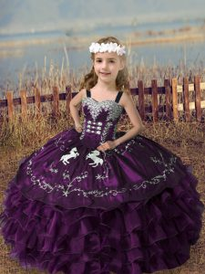Pretty Straps Sleeveless Lace Up Child Pageant Dress Dark Purple Organza