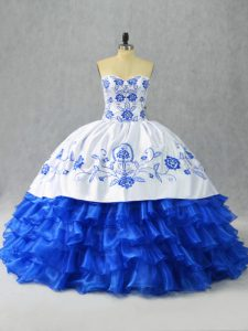 Eye-catching Satin and Organza Sweetheart Sleeveless Lace Up Embroidery and Ruffled Layers Quince Ball Gowns in Blue And White
