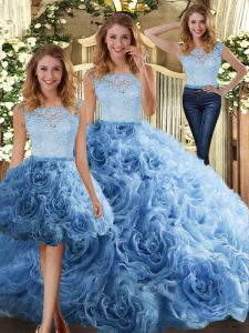 Simple Baby Blue Fabric With Rolling Flowers Zipper Quince Ball Gowns Sleeveless Floor Length Lace