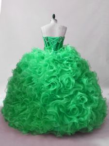 Sleeveless Floor Length Sequins Lace Up Sweet 16 Dress with Green