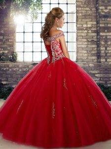Orange Red Ball Gowns Off The Shoulder Sleeveless Tulle Floor Length Lace Up Beading Quinceanera Gowns
