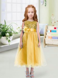 Inexpensive Gold Flower Girl Dresses Wedding Party with Sequins and Hand Made Flower Scoop Sleeveless Zipper