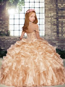 New Style Apple Green High-neck Neckline Beading and Ruffles Kids Pageant Dress Sleeveless Lace Up