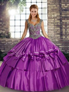 Popular Straps Sleeveless Lace Up 15th Birthday Dress Purple Taffeta