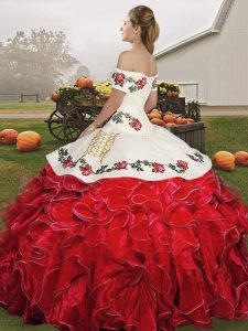 Fantastic Rust Red Organza Lace Up Quinceanera Dress Sleeveless Floor Length Embroidery and Ruffles