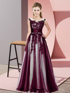 Floor Length Empire Sleeveless Dark Purple Quinceanera Dama Dress Zipper