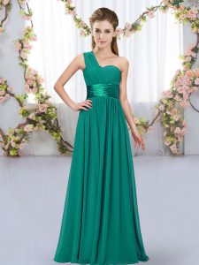 Pretty Floor Length Empire Sleeveless Peacock Green Dama Dress Lace Up