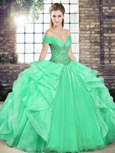 Custom Design Apple Green Organza Lace Up Quinceanera Dresses Sleeveless Floor Length Beading and Ruffles