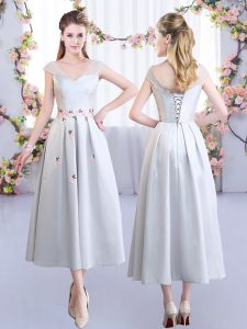 Satin V-neck Cap Sleeves Lace Up Appliques Court Dresses for Sweet 16 in Silver