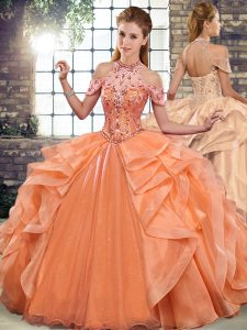 Glamorous Halter Top Sleeveless Lace Up Ball Gown Prom Dress Orange Organza