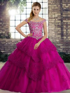 Fuchsia Ball Gowns Beading and Lace Quinceanera Gown Lace Up Tulle Sleeveless