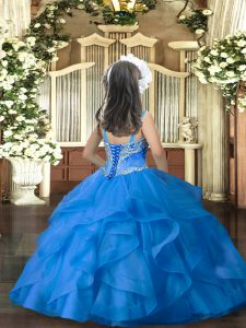 Floor Length Royal Blue Little Girls Pageant Dress Straps Sleeveless Lace Up