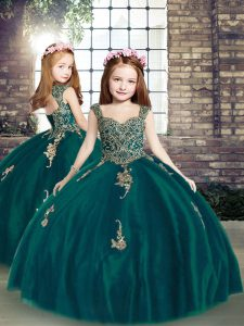Cheap Straps Sleeveless Tulle Little Girl Pageant Dress Appliques Lace Up