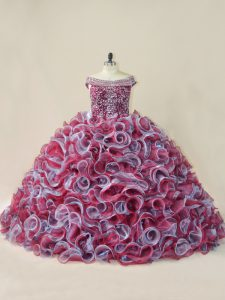 Multi-color Sleeveless Organza Court Train Lace Up Quinceanera Gown for Sweet 16 and Quinceanera