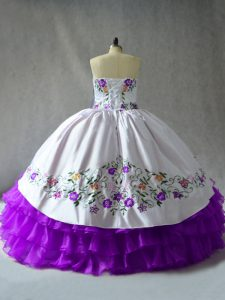 Floor Length Ball Gowns Sleeveless White And Purple 15th Birthday Dress Lace Up