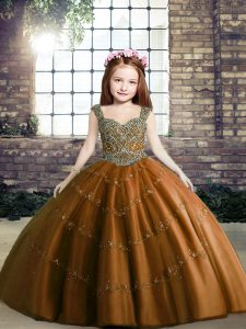 Sleeveless Tulle Floor Length Lace Up Pageant Gowns For Girls in Brown with Beading