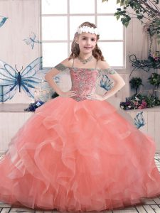 Watermelon Red Straps Neckline Beading and Ruffles Little Girl Pageant Dress Sleeveless Lace Up