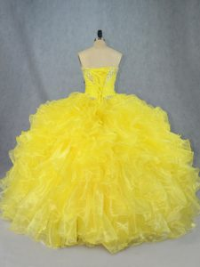 Dynamic Sleeveless Organza Asymmetrical Lace Up Quinceanera Gown in Yellow with Beading and Ruffles