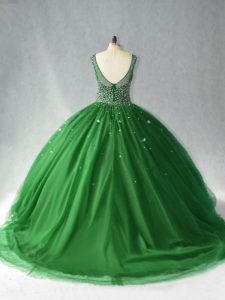 Zipper 15th Birthday Dress Dark Green for Sweet 16 and Quinceanera with Beading Brush Train