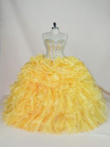 Cute Beading and Ruffles Sweet 16 Quinceanera Dress Yellow Lace Up Sleeveless Floor Length