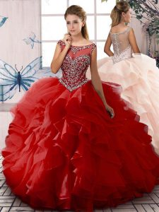 Custom Design Red Zipper Scoop Beading and Ruffles Sweet 16 Dresses Organza Sleeveless