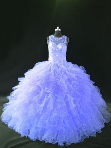 Dramatic Lavender Scoop Neckline Beading and Ruffles 15th Birthday Dress Sleeveless Lace Up
