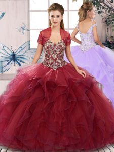 Artistic Burgundy Ball Gowns Beading and Ruffles Quinceanera Gowns Lace Up Tulle Sleeveless Floor Length