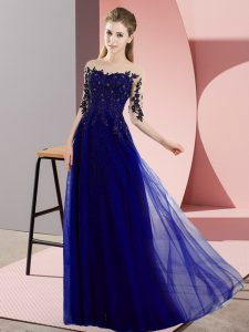 Half Sleeves Beading and Lace Lace Up Damas Dress