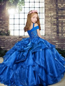 Trendy Beading and Ruffles Pageant Dress Toddler Coral Red Lace Up Sleeveless Floor Length