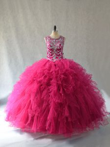 Scoop Sleeveless Tulle Quinceanera Dresses Beading Lace Up