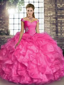 Sleeveless Floor Length Beading and Ruffles Lace Up Quinceanera Dresses with Hot Pink
