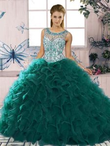 Top Selling Beading and Ruffles Quince Ball Gowns Peacock Green Lace Up Sleeveless Floor Length