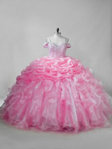 Sleeveless Organza Brush Train Lace Up Sweet 16 Dresses in Pink with Beading and Ruffles and Pick Ups
