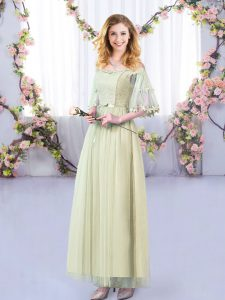 Half Sleeves Floor Length Lace and Belt Side Zipper Dama Dress with Yellow Green