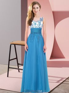 Scoop Sleeveless Chiffon Court Dresses for Sweet 16 Appliques Backless