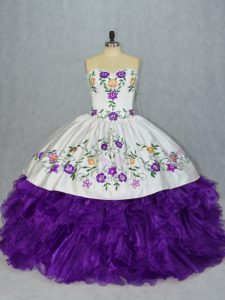 Exquisite White And Purple Sleeveless Floor Length Embroidery and Ruffles Lace Up 15 Quinceanera Dress