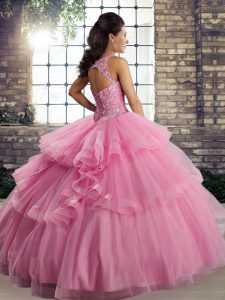 Clearance Scoop Sleeveless Quinceanera Gown Floor Length Lace and Embroidery and Ruffles Watermelon Red Tulle