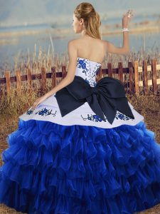 Extravagant Floor Length Lace Up 15th Birthday Dress White And Purple for Military Ball and Sweet 16 and Quinceanera with Embroidery and Ruffled Layers and Bowknot