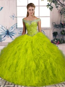 High End Olive Green Quinceanera Dress Sweet 16 and Quinceanera with Beading and Ruffles Off The Shoulder Sleeveless Brush Train Lace Up