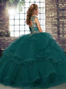 Beautiful Peacock Green Sleeveless Tulle Lace Up Quinceanera Gowns for Military Ball and Sweet 16 and Quinceanera