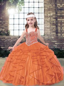Adorable Tulle Sleeveless Floor Length Pageant Dress Toddler and Beading and Ruffles