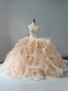 Nice Champagne and Pink And White 15 Quinceanera Dress Sweet 16 and Quinceanera with Beading and Ruffles Sweetheart Sleeveless Brush Train Lace Up