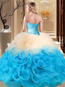 Smart Floor Length Multi-color Sweet 16 Quinceanera Dress Scoop Sleeveless Lace Up