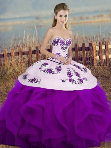 White And Purple Sleeveless Tulle Lace Up Quinceanera Gowns for Military Ball and Sweet 16 and Quinceanera