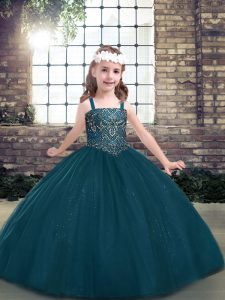 New Style Straps Long Sleeves Girls Pageant Dresses Floor Length Beading Teal Tulle