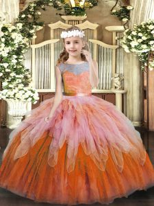 Great Sleeveless Floor Length Lace and Ruffles Lace Up Little Girl Pageant Dress with Multi-color