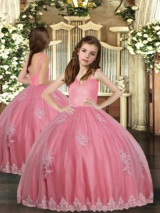 Inexpensive Sleeveless Lace Up Floor Length Appliques Sweet 16 Dresses